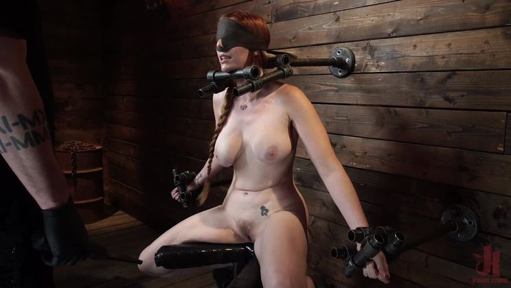 Lauren Phillips: Helpless Redhead in Brutal Bondage Made to Cum