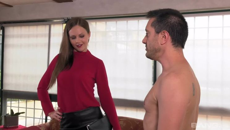 Tina Kay jerks him off with her stocking covered feet after she fucks him