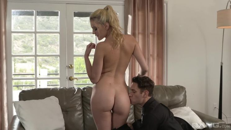 Kenna James licks the taste of her pussy off his cock as he cums