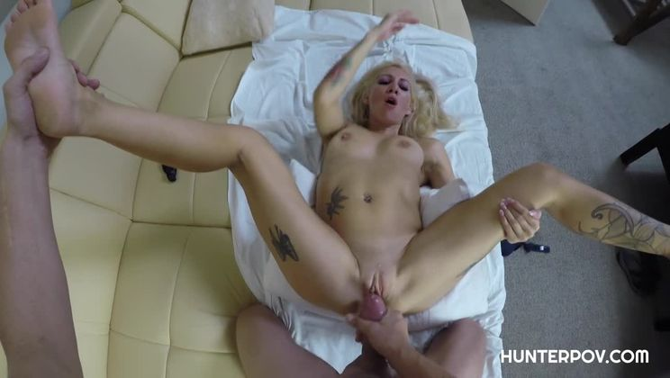 Sexy blonde bitch shows her curves in POV