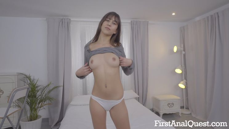 First anal sex of young and shy brunette Anya Krey
